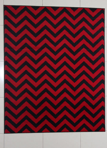 W1520 Black Red Area Rug