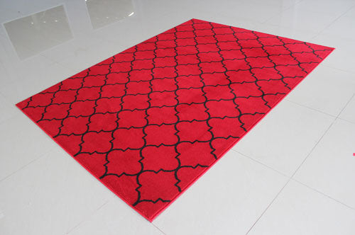 W1521 Red Black Area Rug - Rug Tycoon