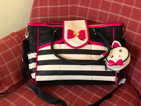 Betsey Johnson Diaper bag black and white
