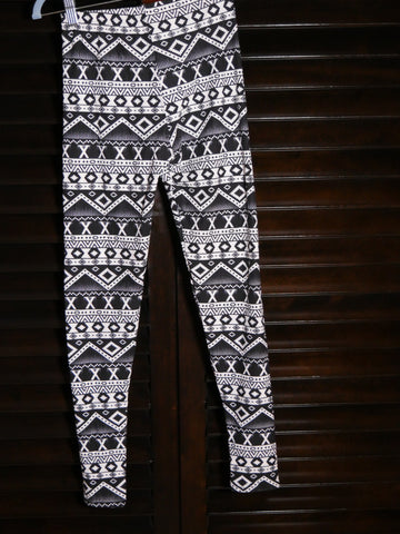 Leggings - black and white Zig Zag