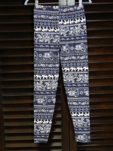 leggings- blue elephants