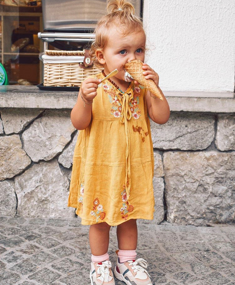Girls Solis Embroidered Dress - Mimosa