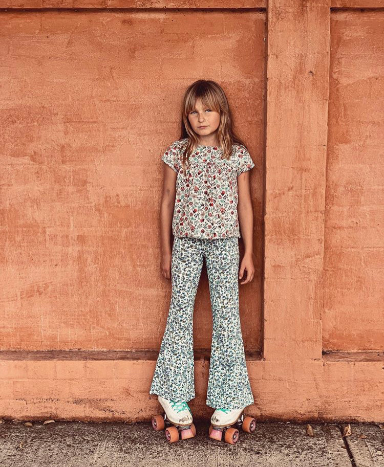 Girls Joplin Bells - Dusty Blue Floral