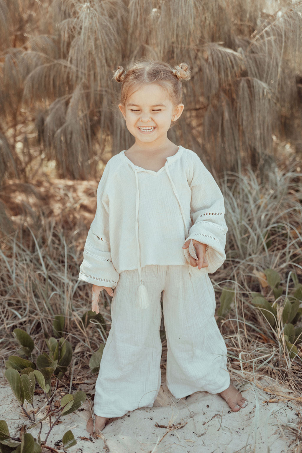 Malu Children's Wide Leg Pants - Oat