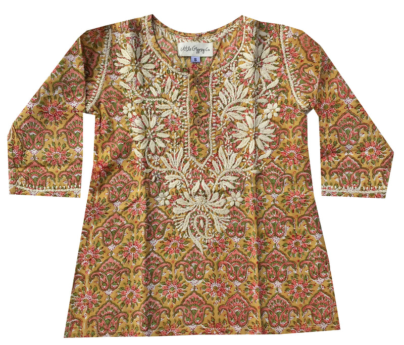 Childrens Block Printed Hand Embroidered Kaftan - Mustard