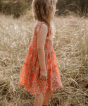 Girls Meadows Dress - Coral
