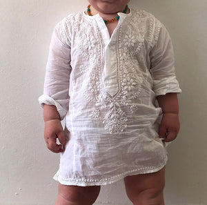 Childrens Cotton Hand Embroidered Kaftan - White
