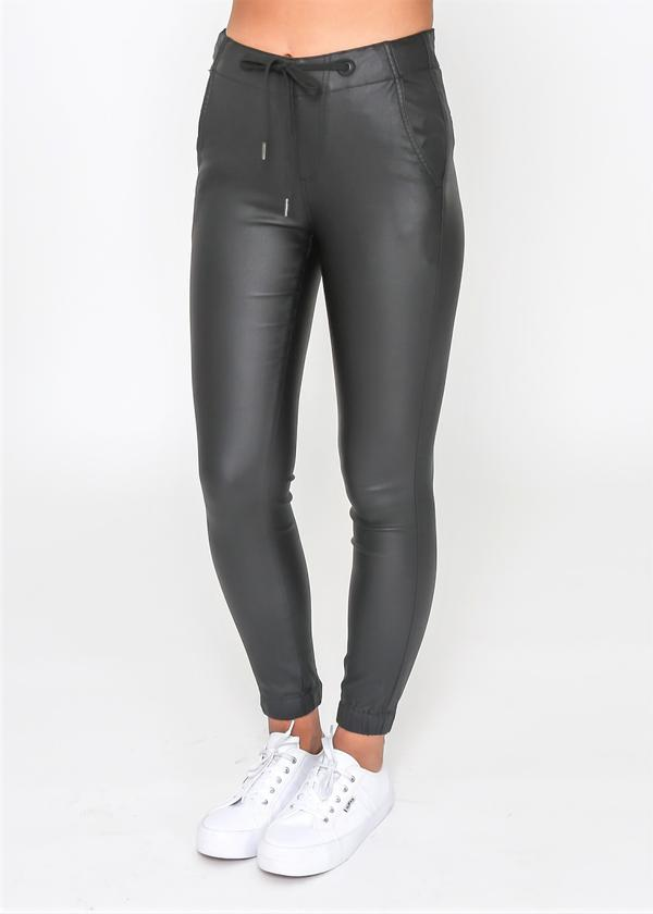 Gretta Wet Look Jogger - Black