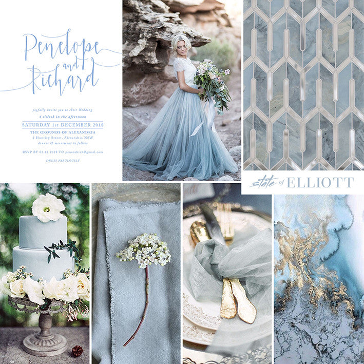 Spotlight on Colour - Dusty Blue, White and Gold
