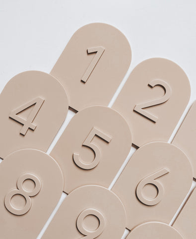 dessert beige acrylic table number hire