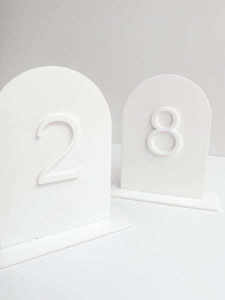white arch acrylic table numbers