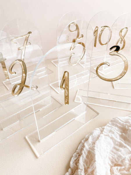 clear and gold arch acrylic table numbers