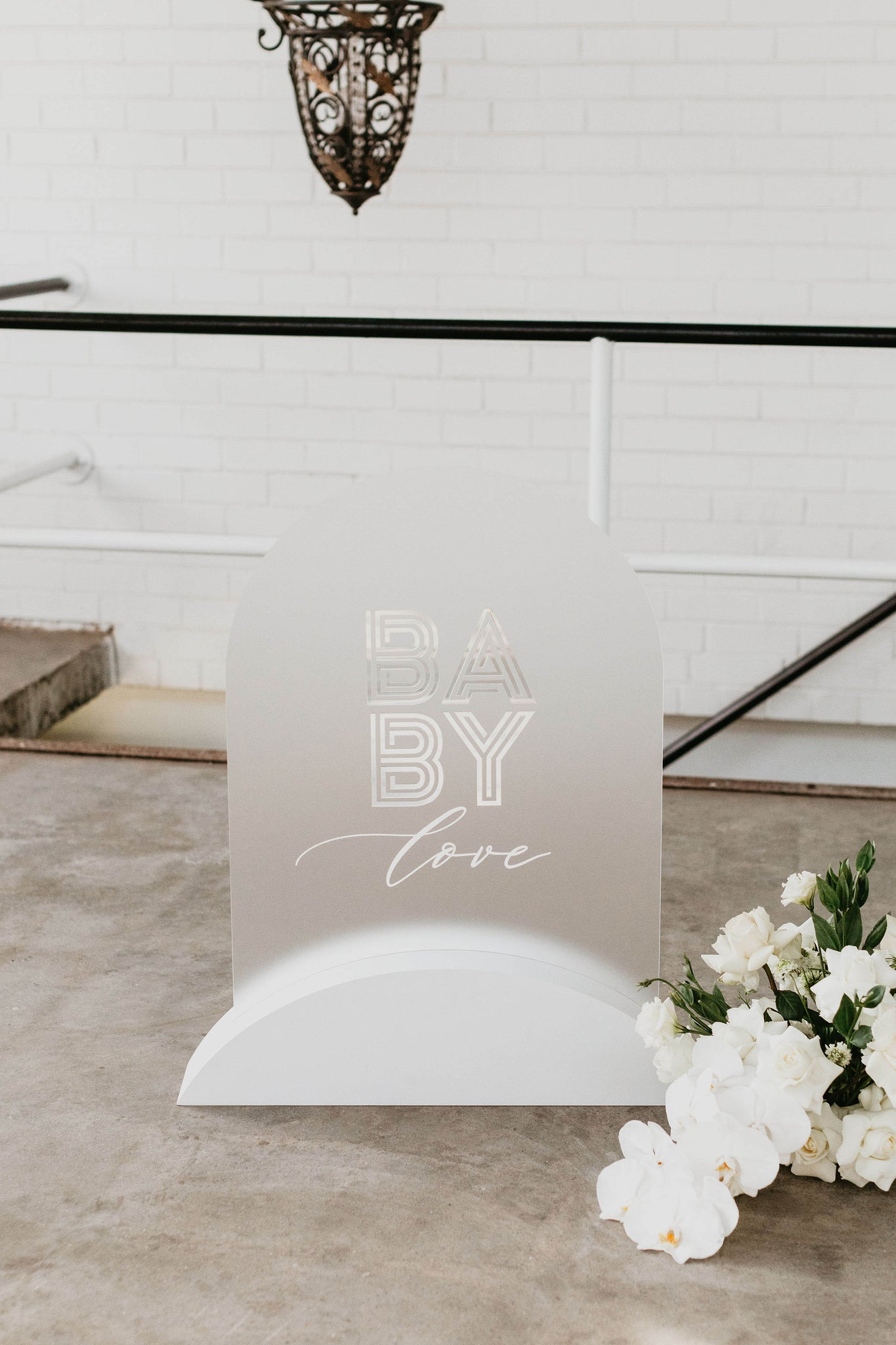 Baby love Baby shower sign arch clear frost acrylic