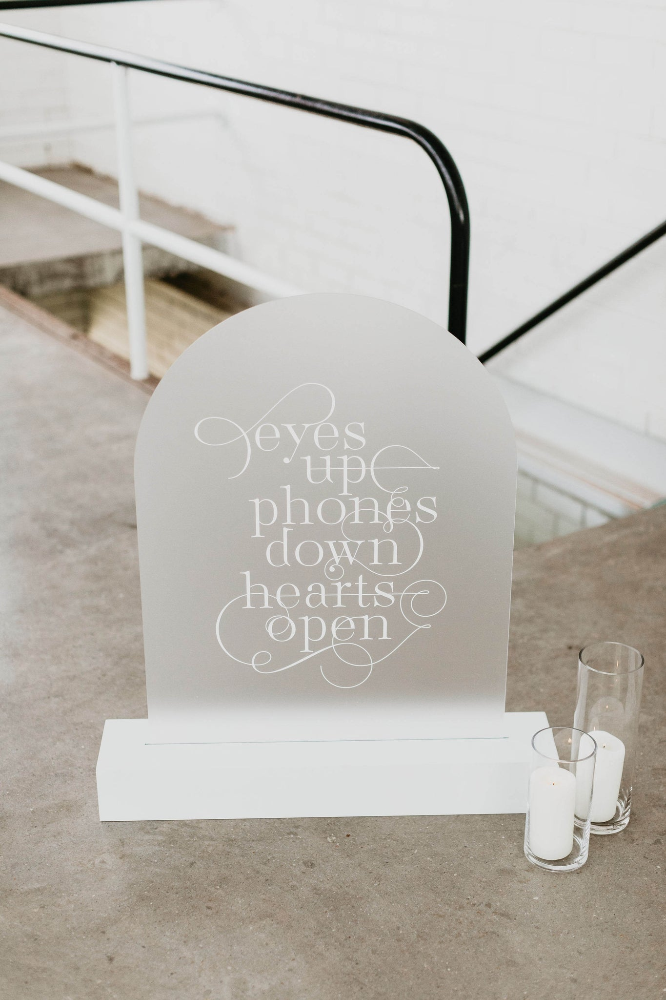eyes up phones down hearts open acrylic sign hire wedding sign melbourne hire