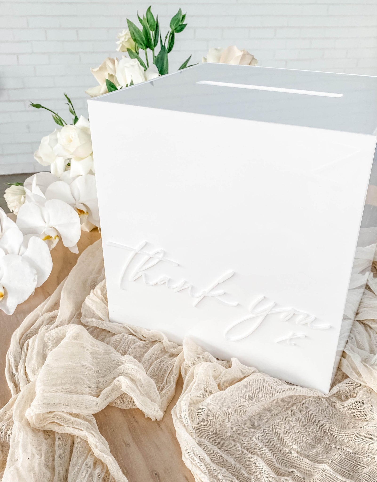 white thank you acrylic wishing well hire melbourne event hire