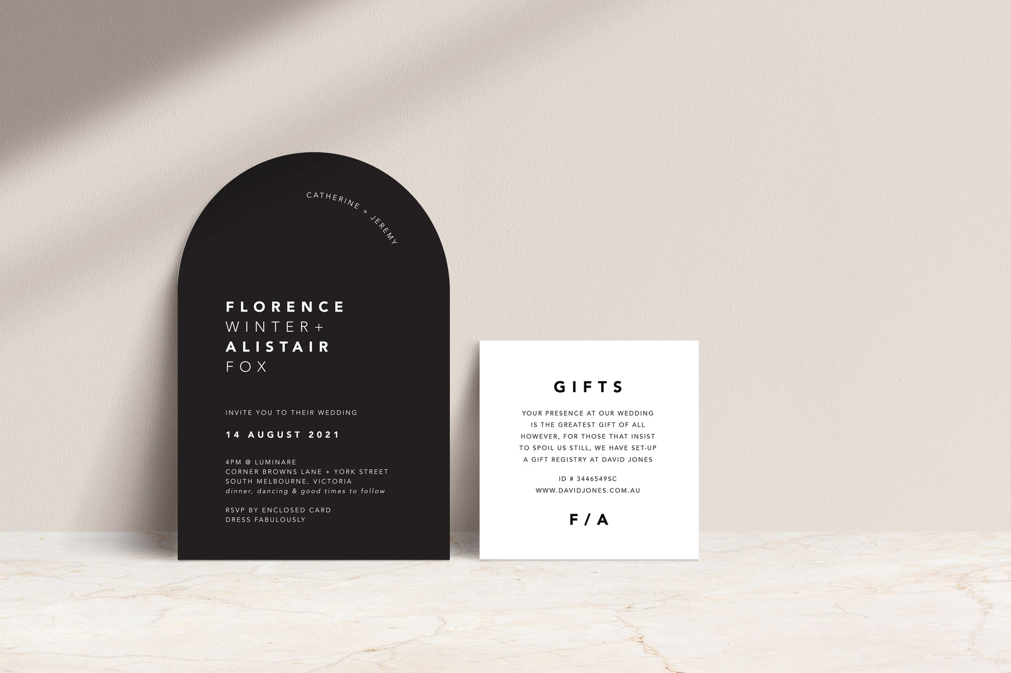 Black Arch Invite / white ink, White Gift card with Black text