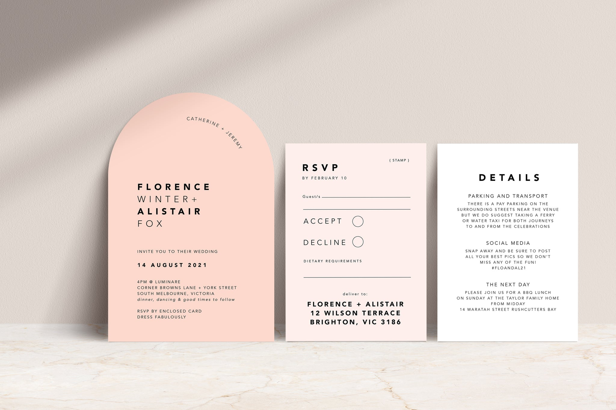 Blush Arch Invite, Nude RSVP, White Details all with black printed text