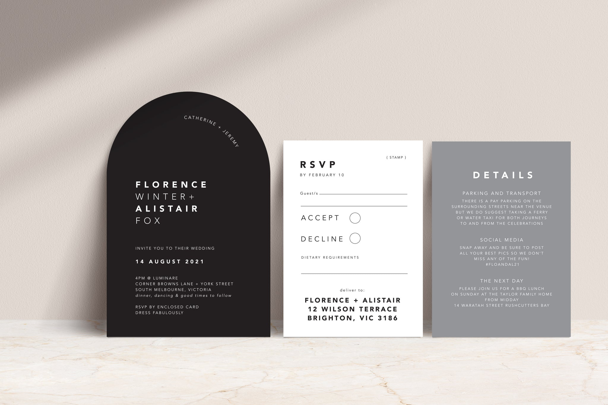 Black Arch Invite / white ink, White Card RSVP / black print, Ash Grey Details card with white ink ext