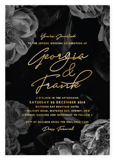 Dark Romance Gold Foil Invitation