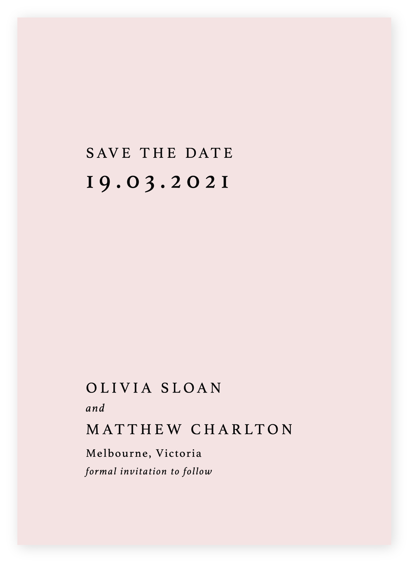 Minimalist Save the Date, black on Blush Linen card