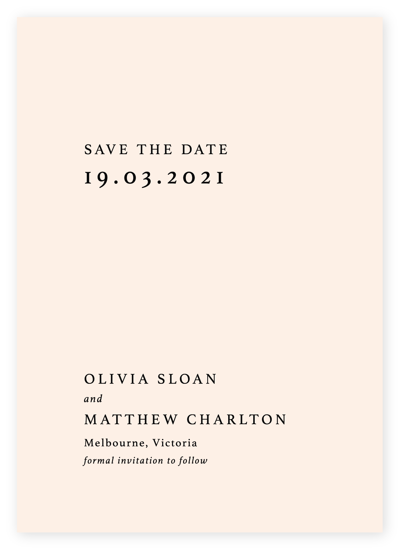 Minimalist Save the Date, black on Soft Peach card