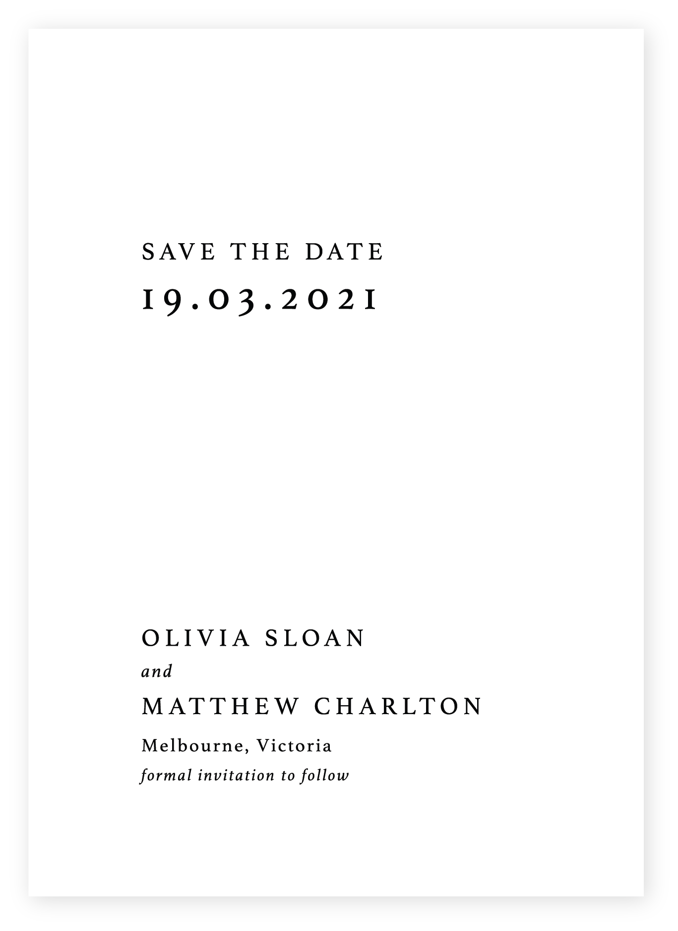 Minimalist Save the Date, black on White card