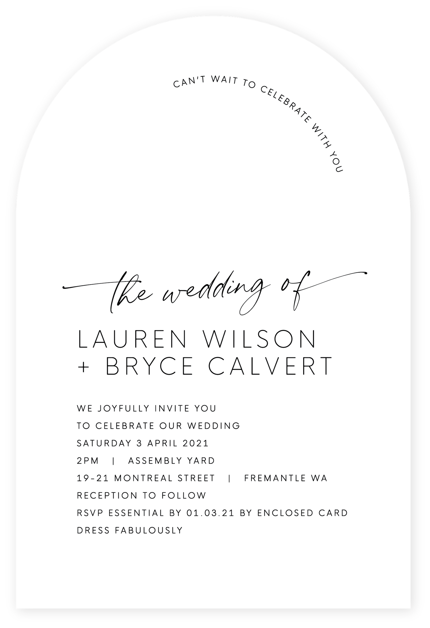 The Wedding Arch - Black on white card