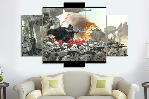 Dark Vader War - 5 Piece Canvas Painting
