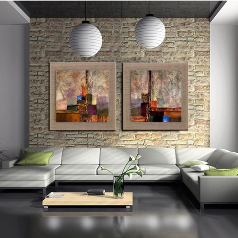 2 Piece Framed New York Style Design Hand Painted Abstract art Oil Painting On Linen Wall Art for Office/Home Wall Decor - EpicKanvas