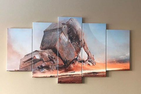 5 Pieces Starwars Fallen AT AT Canvas - Star Wars AT-AT Art - EpicKanvas