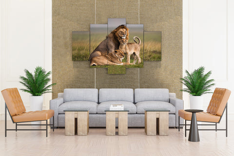 Lion & Kids in Forest - 5 piece Canvas