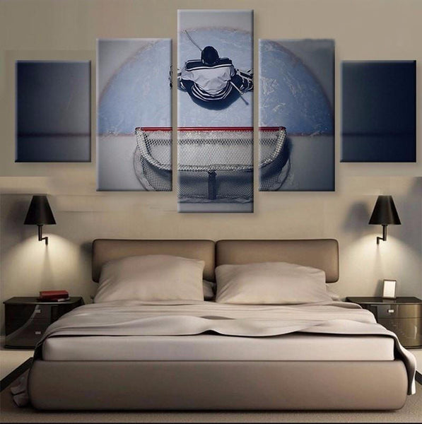 Framed Five Pieces Goalie Hockey Player Canvas - 5 Pcs Artwork of Hockey Player at Net - EpicKanvas
