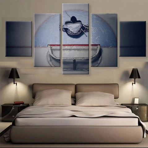 Framed Five Pieces Goalie Hockey Player Canvas - 5 Pcs Artwork of Hockey Player at Net