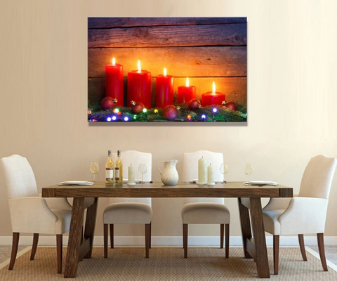 One Piece Framed Modern LED Candle Canvas Painting For Home/Office Decor