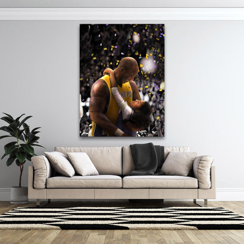 Epikkanvas Empowered Living: 1 Pc Framed Magical Kobe & Gigi Bryant Angelic Love Bonding Artwork-1 Piece Lead By Example Kobe Special Wall Art for Office and Home Wall Decor - EpicKanvas
