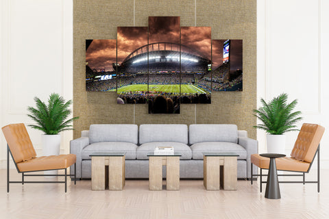 Seattle Seahawks nfl Football Qwest stadium - 5 piece Canvas