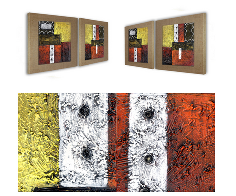 New York Style Design Framed 2 Piece Hand Painted Abstract art Oil ...