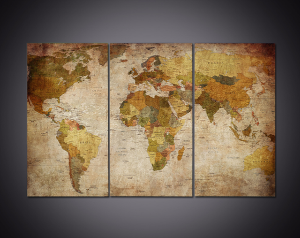 3 Pcs Framed Brown World Map Canvas Prints - 3 piece Canvas For Home/Office Room