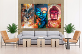 3 Pcs Framed Abstract Buddha Canvas Prints for your Home/Office Space