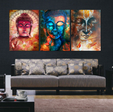 3 Pcs Framed Abstract Buddha Canvas Prints for your Home/Office Space - EpicKanvas
