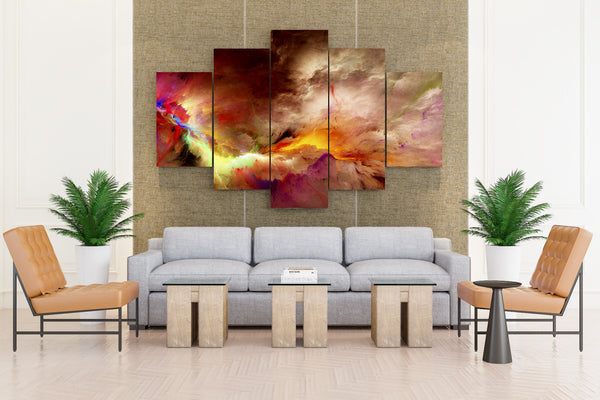 Multi Yellow Color Paintng - 5 piece Canvas