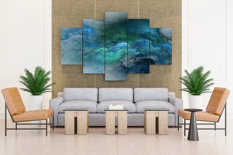 5 Piece Multi Blue Color Canvas Art for Home and Office Wall Decor