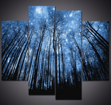 4PCS Framed Forest Tree Canvas - Blue Sky & Magical Tree Lookout Wall Art for Office and Home Wall Decor - EpicKanvas
