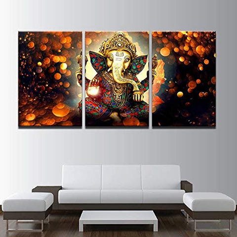 3 Pcs Indian God Ganesh Abstract Canvas - 3 piece Ganpati Bappa Maurya Canvas Ganesha Canvas For Your Home/Office Room