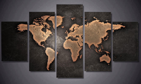 5 piece Rustic World Map Canvas Artwork For Home & Office Wall Decor - EpicKanvas