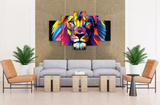 5 Pcs Framed Abstract Colorful Lion Canvas - 5 Piece Lion Abstract Artwork For Office and Home Decor - EpicKanvas