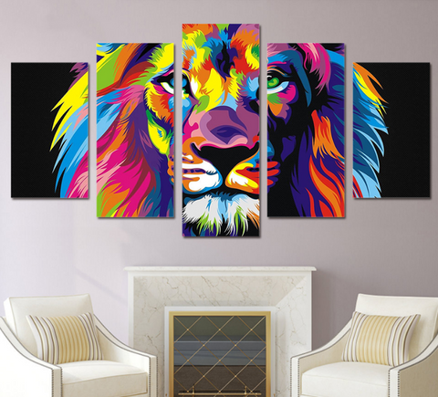 ... 5 Pcs Framed Abstract Colorful Lion Canvas Print   5 Part Canvas Lion  Art Canvas Abstract ...