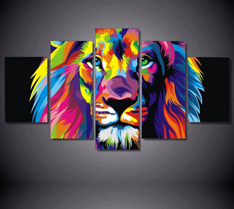 5 Pcs Framed Abstract Colorful Lion Canvas - 5 Piece Lion Abstract Artwork For Office and Home Decor