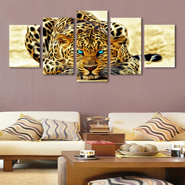 5 Pcs Framed Family of Tiger, Leopards Canvas - 5 piece Silent Man Eater Canvas