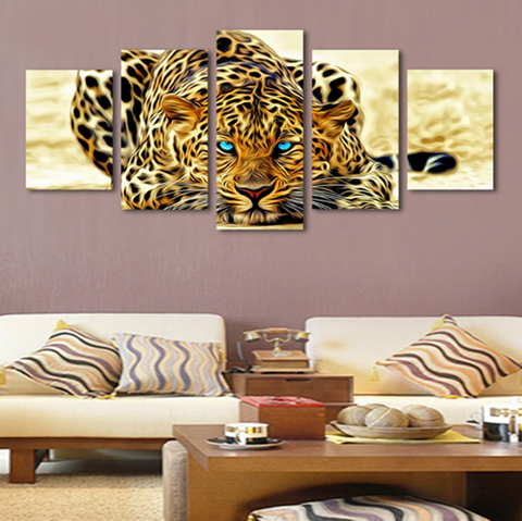 5 Pcs Framed Family of Tiger, Leopards Canvas - 5 piece Silent Man Eater Canvas - EpicKanvas
